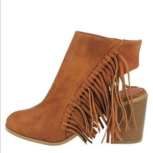 Ladies Spot On Cut Out/fringed Heel Ankle Boots